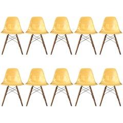 Ten Herman Miller Eames Ochre Dining Chairs