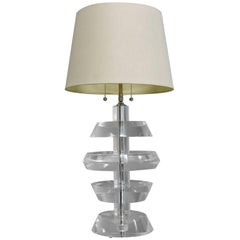 Karl Springer Mid-Century Modern Stacked Lucite and Chrome Table Lamp