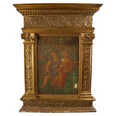 Italian Eastern Orthodox Icon Oil on Board in Carved Giltwood, 19th Century