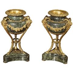 Small Pair of Antique Marble and Gilt Bronze Cassolettes from France, 1800s