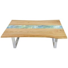 Organic Modern Live Edge Elm Resin Art Coffee Table