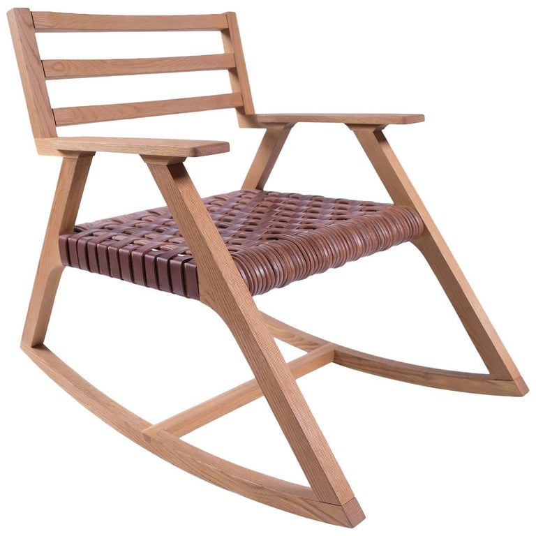 Giacomo Rocking Chair in Oak with Woven Leather Seat