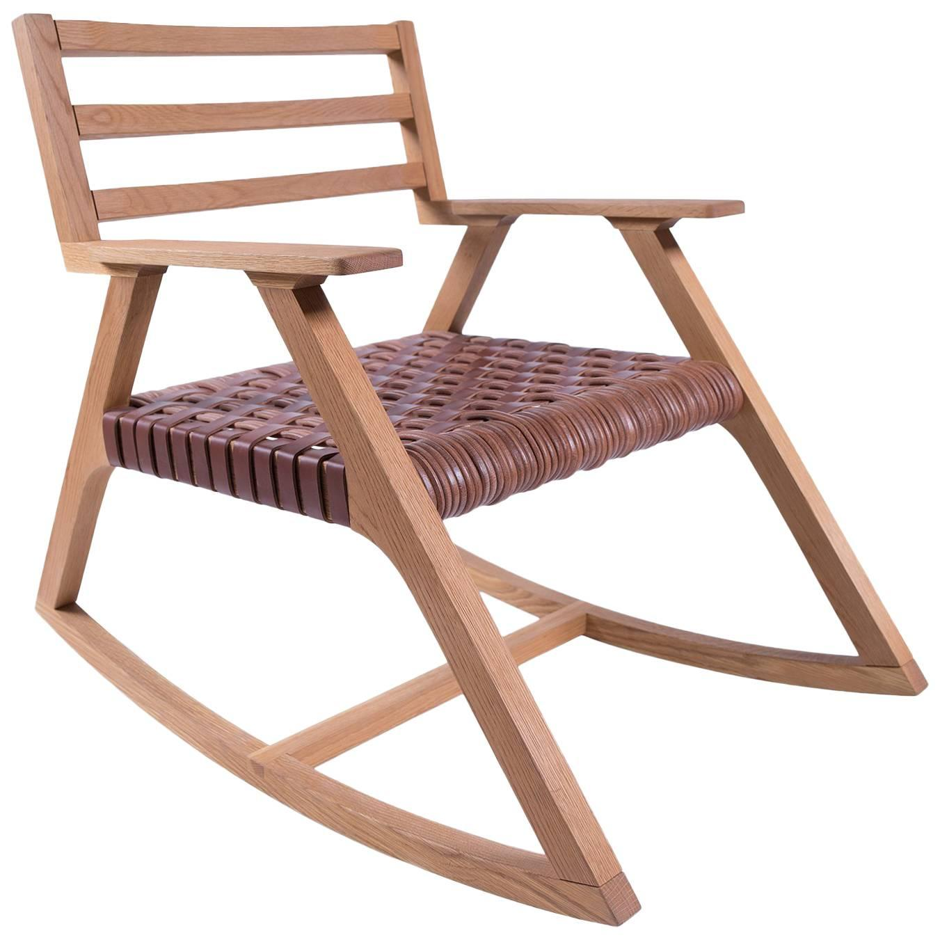 Giacomo Rocking Chair In Oak With Woven Leather Seat For Sale