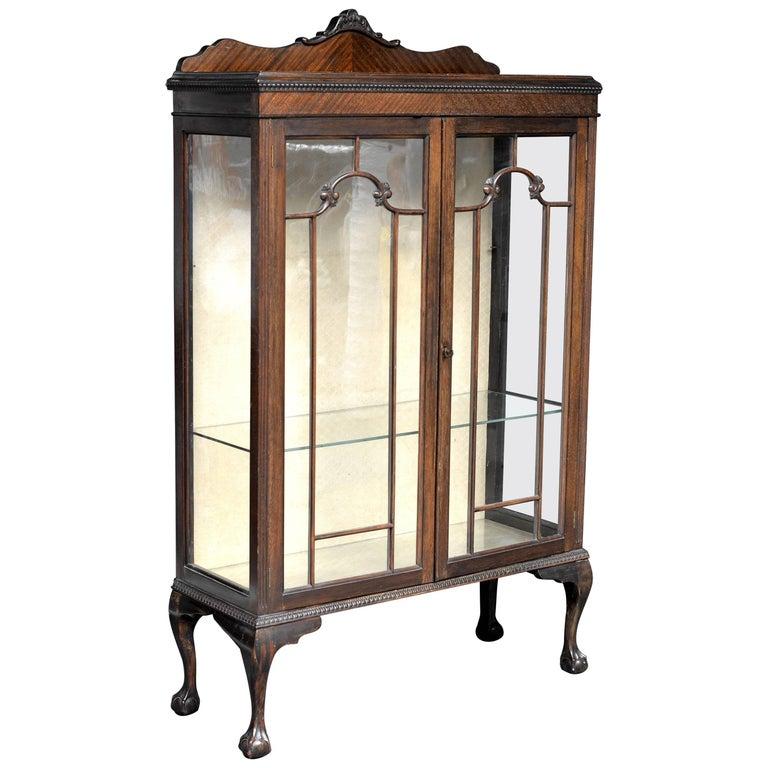 Edwardian Glass Display Cabinet Mahogany 1 - Edwardian Glass Display Cabinet Mahogany For Sale At 1stdibs