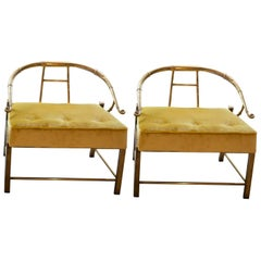 Midcentury Set of Yellow Armchairs by Mastercraft in Brass and Velvet