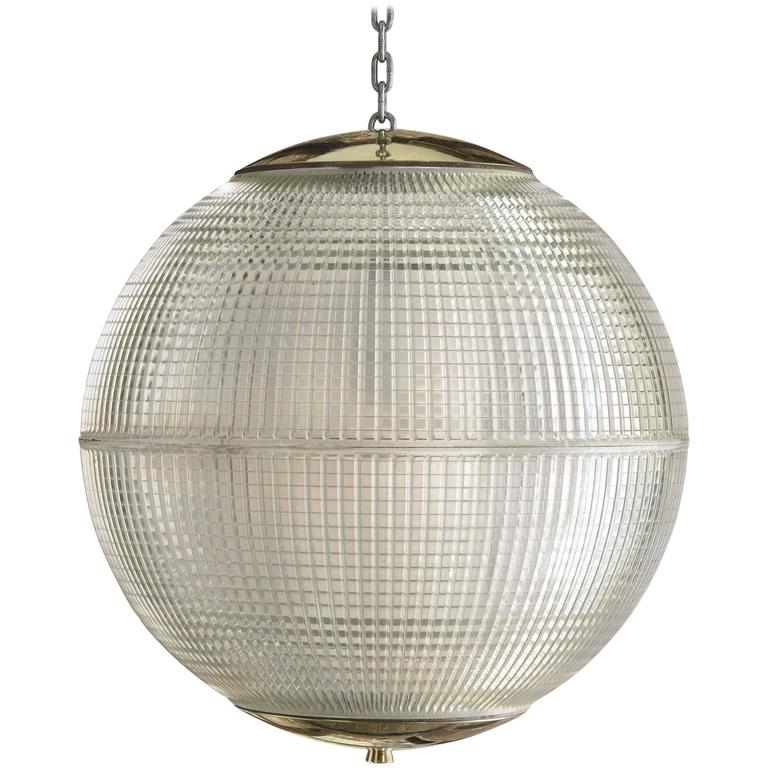 Large French Holophane Pendant Globe Lights with Brass Caps