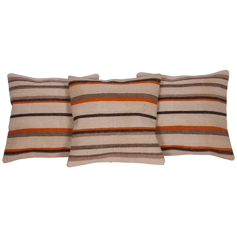 Pillow Cases Fashioned Out of an Anatolian Mid-20th Century Wool Kilim