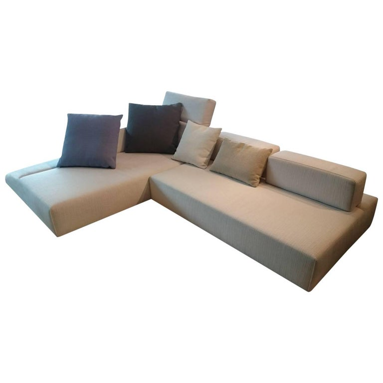 sofa fields by manufacturer br hl finished in fabric wood and chrome for sale at 1stdibs. Black Bedroom Furniture Sets. Home Design Ideas