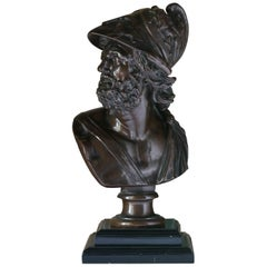 French 19th Century Bronze Bust of Menelaus, Barbedienne Foundry