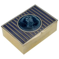 Antique 20th Century French Solid Silver and Hand-Painted Enamel Box, circa 1920