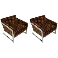 Pair of Chrome Tub Chairs Attributed to Baughman