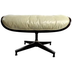 Eames Cream Leather and Rosewood Ottoman