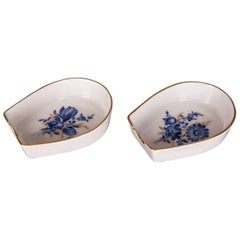 Two Beautiful Meissen Ashtray Decor Blue Flower with Gold