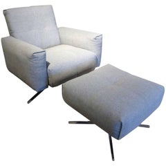 "Armchair ""50"" by Manufacturer Rolf Benz with Metal, Finished in Fabric"