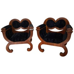 Italian 1960`s Design Armchairs with Rosewood and Purple Velvet.