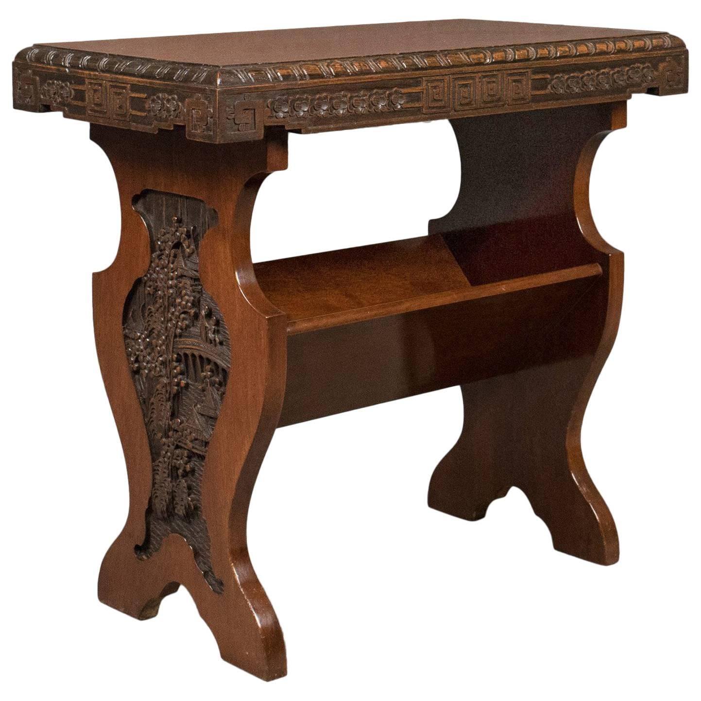 Antique Book Trough Side Table, Oriental Walnut, Circa 1910 For Sale