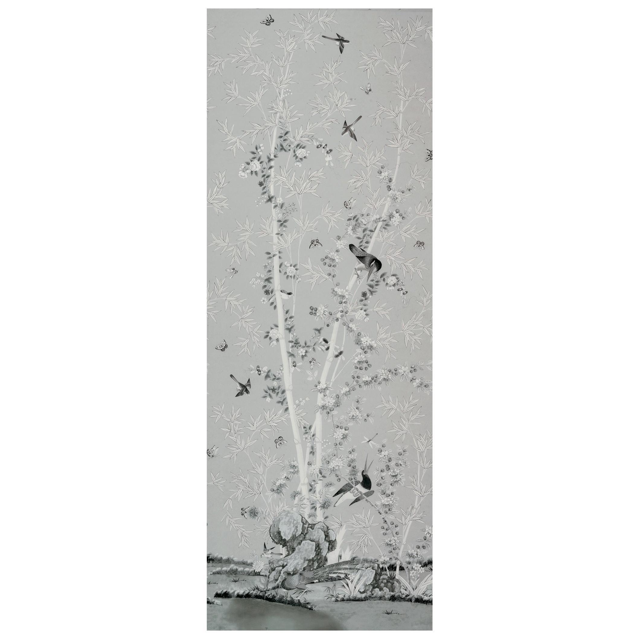 Schumacher Miles Redd Brighton Pavilion Chinoiserie Black White Wallpaper Panel