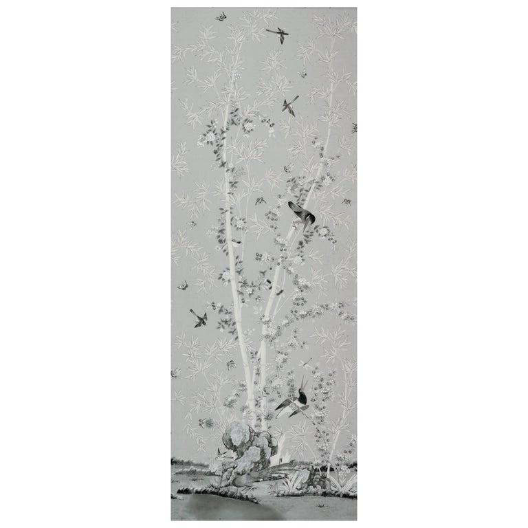 Schumacher Miles Redd Brighton Pavilion Chinoiserie Black White Wallpaper Panel For Sale