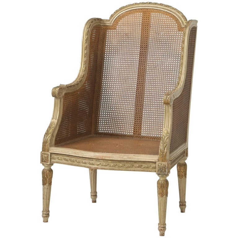 French Louis XVI Style Bergère Chair or Wingback in Original Paint