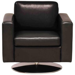 "Armchair ""Serge"" by Manufacturer Brühl with 100% Genuine Leather, Wood and Metal"