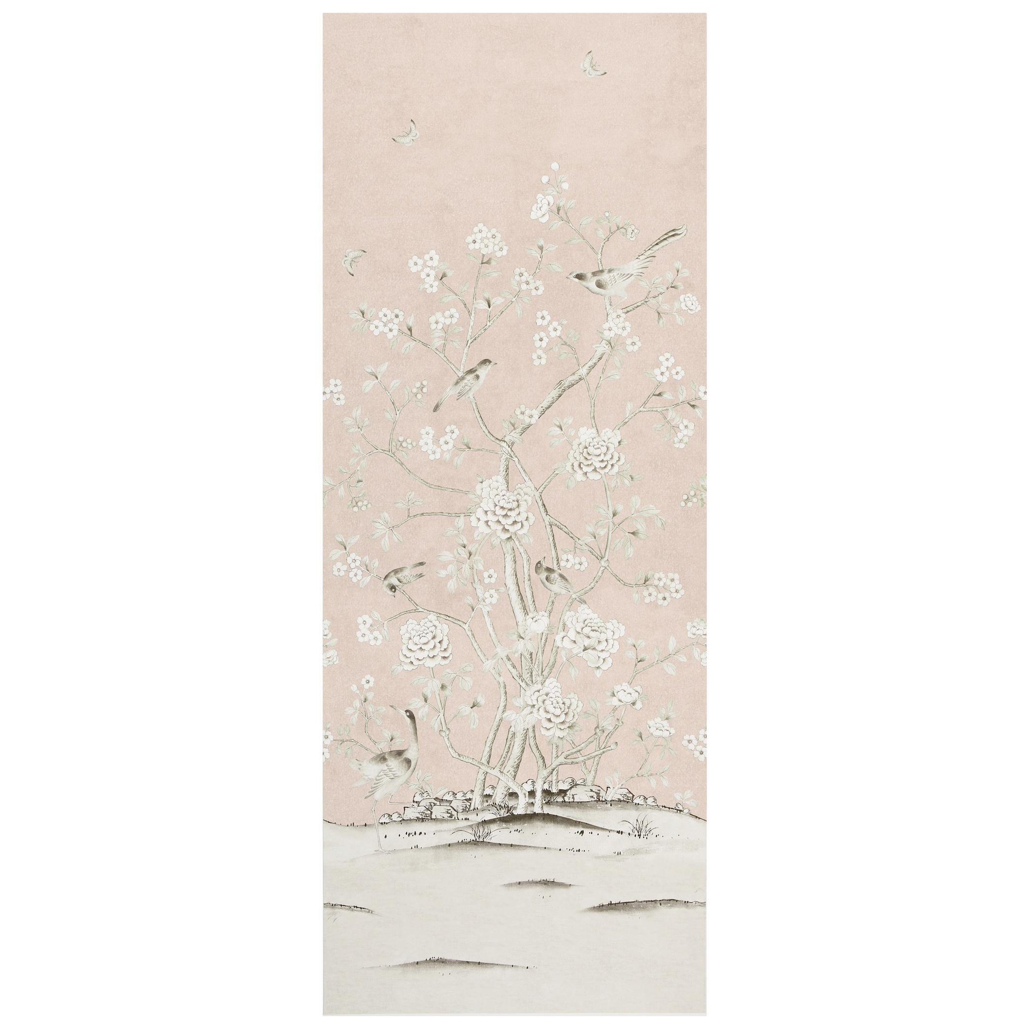 Schumacher Mary McDonald Chinois Palais Floral Blush Conch Wallpaper Panel