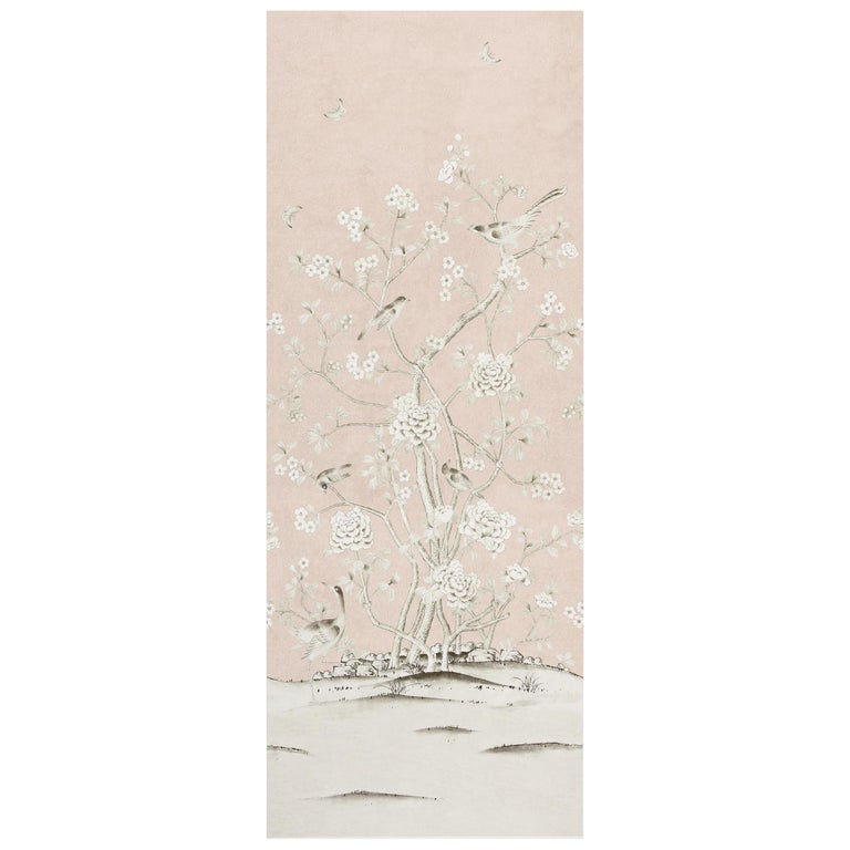 Schumacher Mary McDonald Chinois Palais Floral Blush Conch Wallpaper Panel For Sale