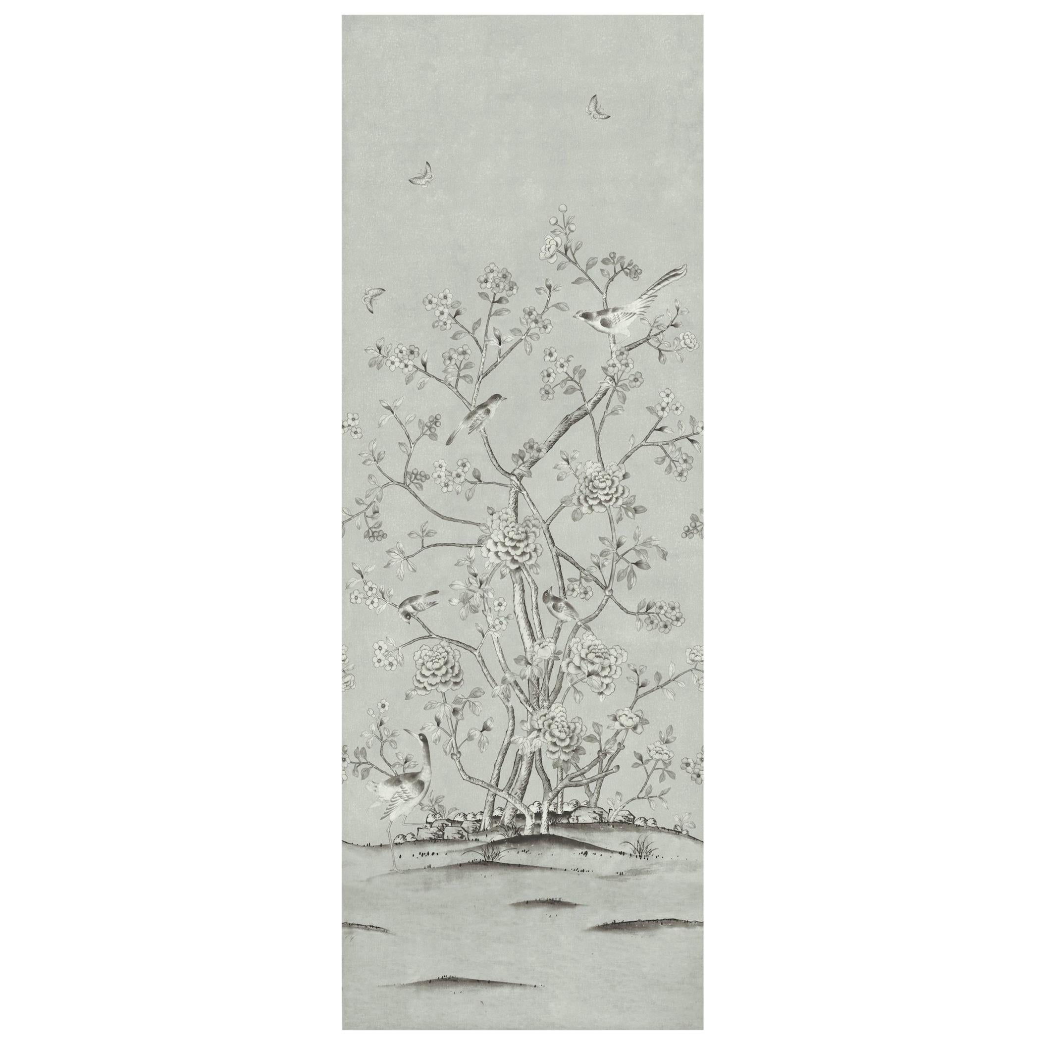 Schumacher by Mary McDonald Chinois Palais Wallpaper Mural in Grisaille