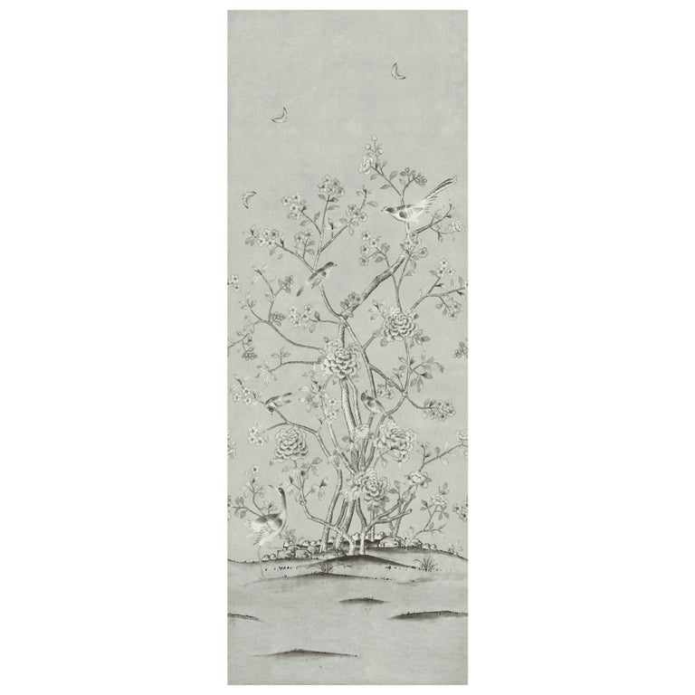 Schumacher Mary McDonald Chinois Palais Floral Grisaille Wallpaper Panel For Sale