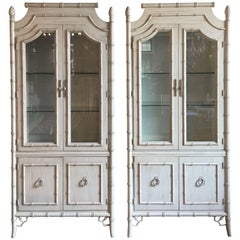 Hollywood Regency Style Bamboo Lighted Cabinets, Pair