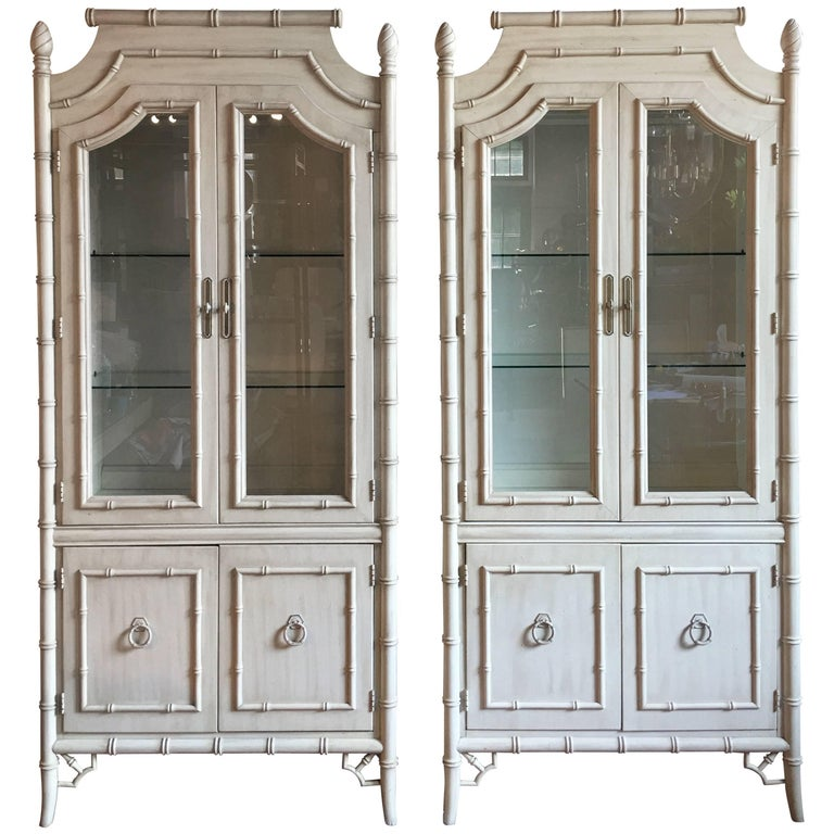 Hollywood regency style bamboo lighted cabinets pair for for Bamboo kitchen cabinets for sale