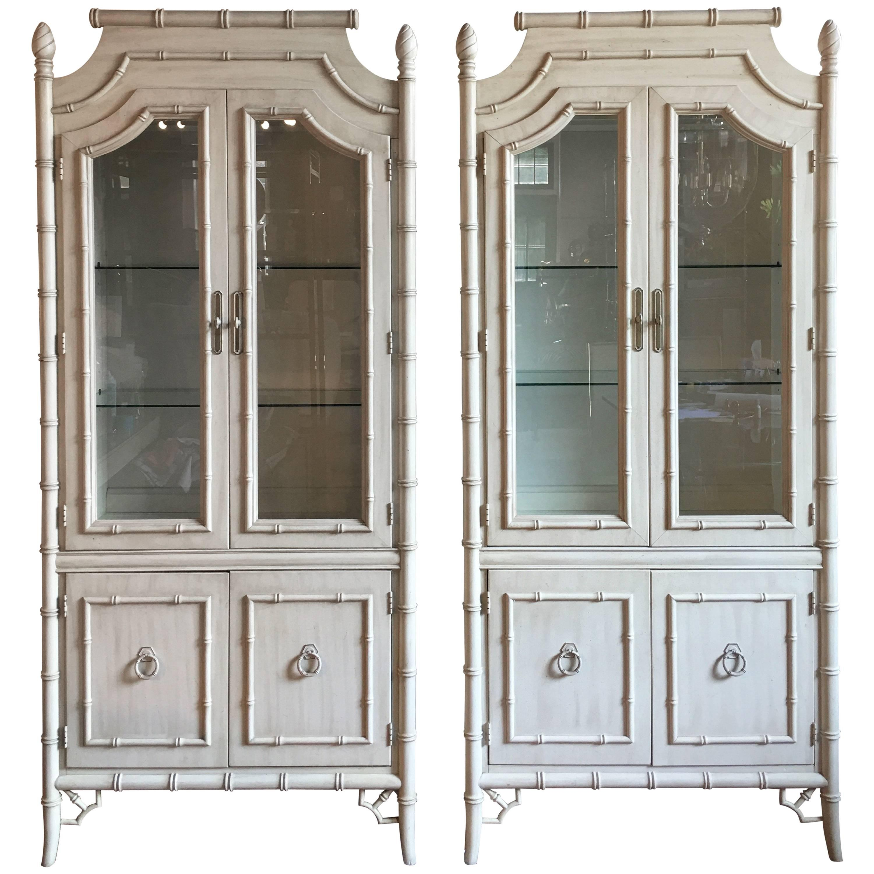 Hollywood Regency Style Bamboo Lighted Cabinets 1