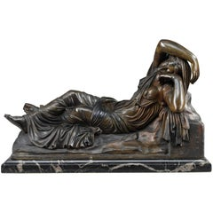 """Bronze """"The Sleeping Ariadne"""" Also Called """"Cleopatra"""" after the Antique"""