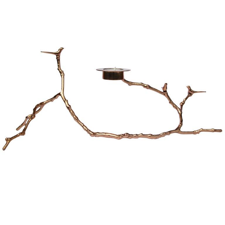 Bronze Magnolia Twig Tealight Candleholder, Long