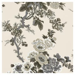 Schumacher Pyne Hollyhock Floral Chintz Charcoal Wallpaper Two Roll Set