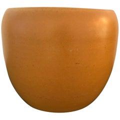 Orange Glazed Studio Pottery Vessel