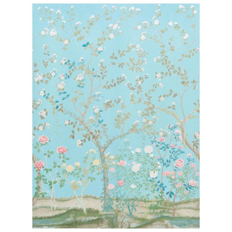 Schumacher Miles Redd Madame De Pompadour Aqua Wallpaper Panel Unit For Sale