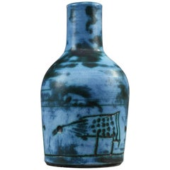 20th Century Small Blue Ceramic Vase by Jacques Blin