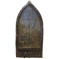 17th Century Antique Religious Painting on Oak Panel