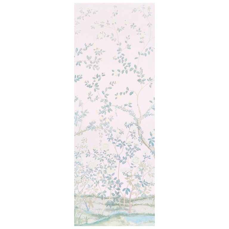 Schumacher Miles Redd Madame de Pompadour Blush Wallpaper Panel Unit For Sale