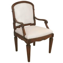 18th Century Mahogany Armchair with Scroll Arms, Upholstered Seat and Back