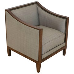 French Walnut Square Shaped Child's Chair Upholstered in Linen, circa 1940
