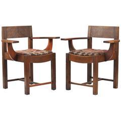 Pair of Arts & Craft Oak Armchairs