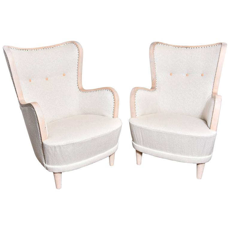 Pair of Swedish Wing Chairs For Sale