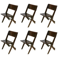 Set of Six English Oak Folding Chairs, circa 1920s