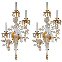 Pair of New Rock Crystal Sconces in the Manner of Maison Baguès