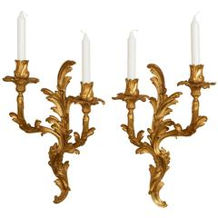 Pair of Louis XV Style Twin-Light Appliques