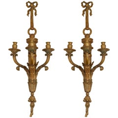 Pair of Louis XVI Style Three-Light Appliques