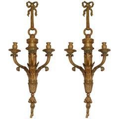 Pair of Louis XVI Style Three-Light Appliques