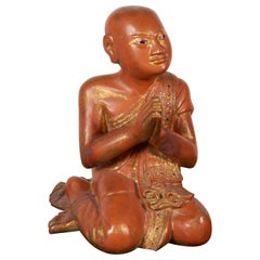 Finely Carved Antique Burmese Praying Monk