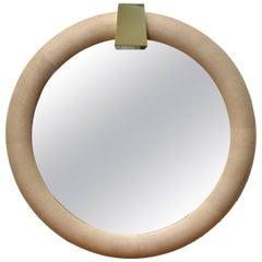 Karl Springer Style Shagreen Mirror with Brass Keystone